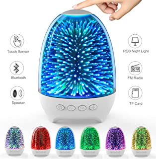 Aiscool Night Light Bluetooth Speaker 3D Glass Bedside Table Lamp Color LED Night Lamp Touch Sensor Control Rechargeable Portable (Galaxy Star Pattern)