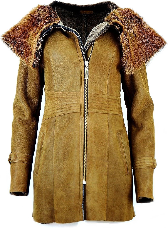 DX-Exclusive Wear Womens Sheepskin Coat, Lambskin Coat with Toscana Fur, Leather/KPKK-0002