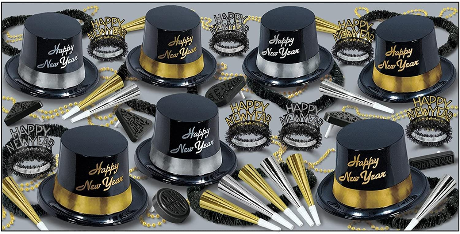 Party Central The Silver and gold Kit Assortment for 50 People for New Year's Eve