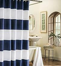 OneHoney Wide Stripes Fabric Shower Curtain Bathroom Decor, Navy Blue Extra Long 72x84inch