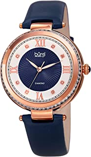 Burgi BUR202 Women's Watch - Baguette Crystal Studded Bezel - Guilloche Dial with Genuine Diamond Markers - Genuine Leather Skinny Strap