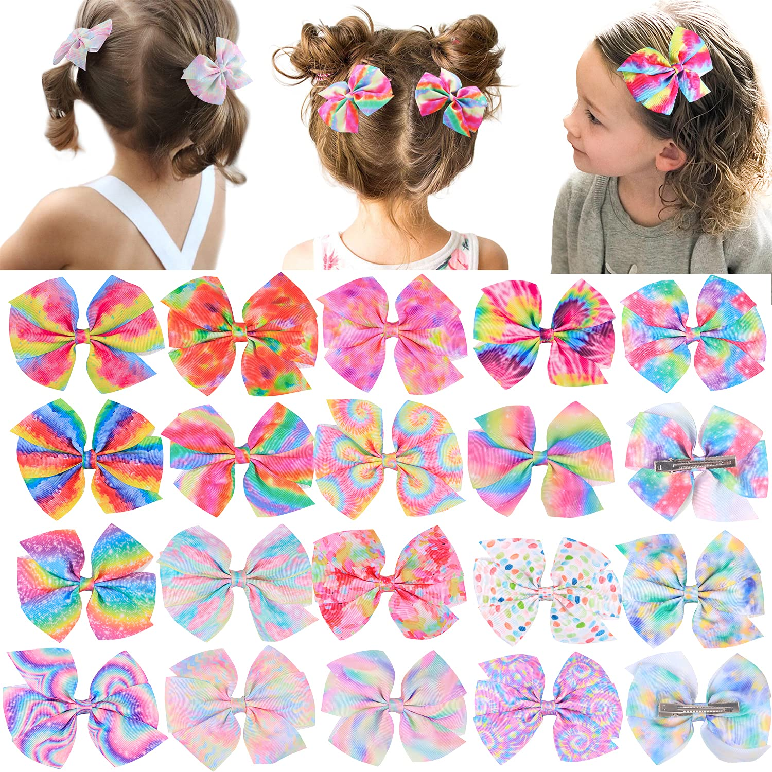 18 Pcs Pigtail Big Bows For Sales for sale Girls Toddler Hair Bow Product Tie Dye