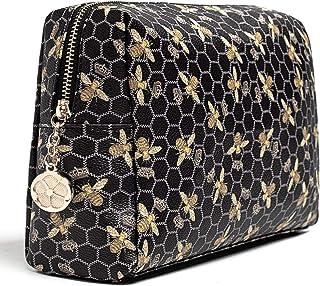 حقيبة مكياج فاخرة للمحفظة الكبيرة للنساء حقائب مستحضرات التجميل للسفر, , أسود - Bee Cosmetic Bag -3