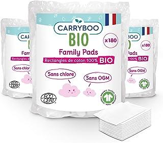 Carryboo - 540 Carrés de Coton Bio - Lot de 3 Packs de 180 Pads de 8x10 cm- Fibre 100% Naturelle, 100% Coton Bio - Sans Ch...