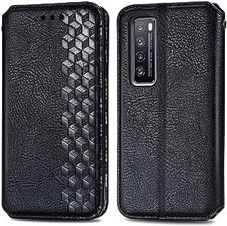 電話ケース Huawei Nova 7立方グリッドプレス水平フリップ磁気PUレザーケースホルダー&カードスロット&財布用 (Color : Black)