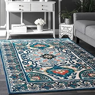 nuLOOM 8 x 5 Feet  Floral Leda Rug - Blue