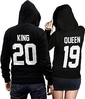 48251b48cf9de0 CVLR King Queen Pullover Pärchen Set in schwarz - Mit individueller  Wunschnummer - 2 Hoodies für