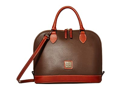 Dooney & Bourke Pebble Zip Zip Satchel (Mushroom/Tan Trim) Satchel Handbags