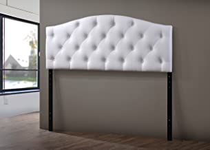 Baxton Studio Wholesale Interiors Myra Modern and Contemporary Faux Leather Upholstered Button-Tufted Scalloped Headboard, Queen, White