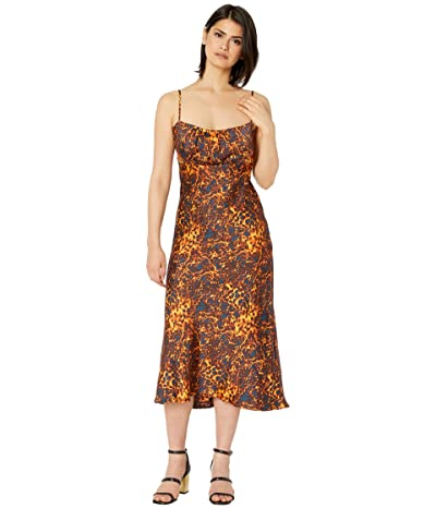 WAYF Fleur Ruched Bodice Slip Dress (Tortoise) Women