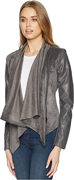 Faux Suede Drape Front Jacket in Charcoal Grey