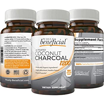 Organic Activated Coconut Charcoal 1200mg, 180 Capsules - Pills for Digestive System, Bloating, Detoxification, Teeth Whitening, Vegan (1bottle)