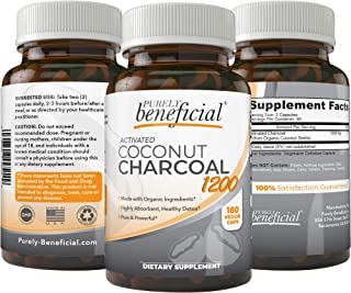 Organic Activated Coconut Charcoal 1200mg, 180 Capsules - Pills for Digestive System, Bloating, Detoxification, Teeth Whit...