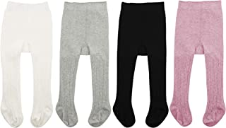 Zando Soft Baby Tights Seamless Cable Knit Infant Tights for Baby Girls Leggings Stockings Newborn Pantyhose Winter Clothes Toddler Warm Socks 4 Pack - Colorful Mixed B 6-12 Month