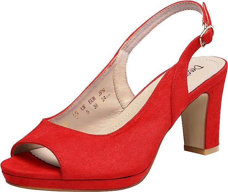 1950s Style Shoes   Heels, Flats, Boots DREAM PAIRS Women's Sexy High Chunky Heels Peep Toe Platform Block Slingback Dress Pumps Shoes  AT vintagedancer.com