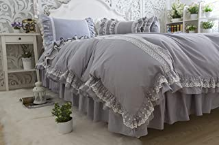Softta Solid Color Grey 4Pc Queen Size Girl Bedding Princess Ruffled lace Bedding Set 100% Cotton (1 Duvet Cover,1 Bed-Skirt and 2 Pillowshams)