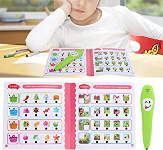 Electronic Reading Pen with Learning Book, Children Point Reading Pen English Figure Logic Learning Animal Cognition Kids ...