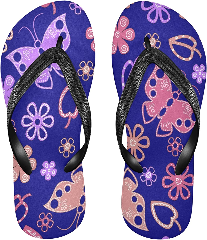 Nander Pink Lilac Butterfly Flowers Women's Sandal Flip Flops Soft Comfortable Beach Slippers Unisex Adult Durable Flip Flops Shower Shoes