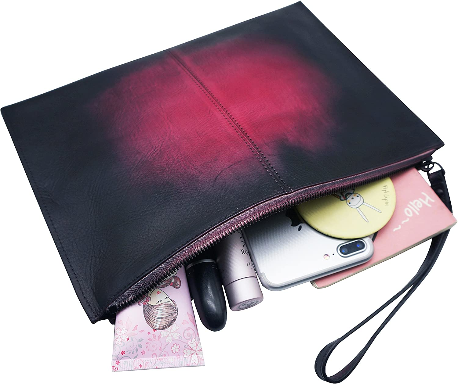 Clutch Purse for Women Leather Wristlet Wallet with Strap