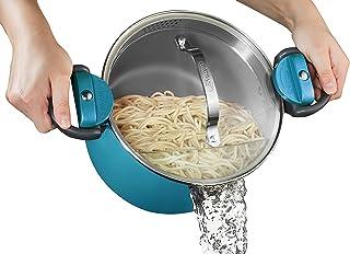 Gotham Steel Ocean Blue 5 Quart Multipurpose Pasta Pot with Strainer Lid & Twist & Lock Handles, Nonstick Ceramic Surface ...