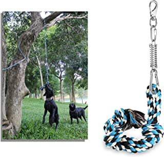 DIBBATU Spring Pole Dog Rope Toys with a Big Spring Pole Kit for Pitbull & Medium to Large Dogs Tug of War Toy Included 3 Knott Tug Rope Toy Muscle Builder Exercise Dog Toy