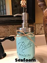 Soap Dispenser Mason Canning JAR Hand PAINTED & Distressed Ball Pint ~ STAINLESS STEEL ~ Kitchen, Bathroom, Lotion or Soap ~Gray Grey Seafoam Light Blue Turquoise Pewter Green Cream Tan Brown Yellow