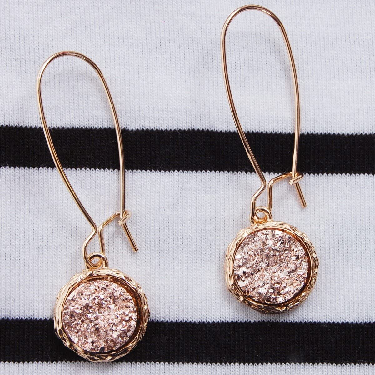 Humble Chic Simulated Druzy Threaders - Boho Glitter Upside-Down Long Hoop Dangle Drop Earrings for Women - Bohemian Created Geode Stone Sparkly Pendants