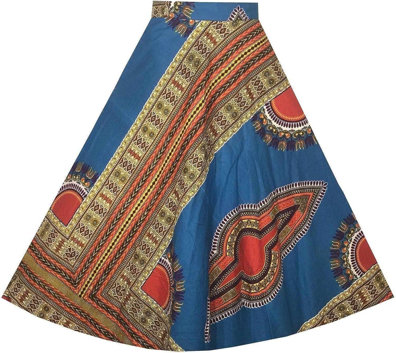 Decora Apparel African Dashiki Long Wraparound Skirt Vintage Ankara Maxi Kente Cloth Skirt Head Wrap Scarf Belt