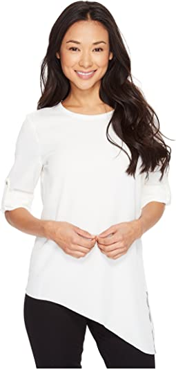 Roll Sleeve with Angle Bottom Blouse