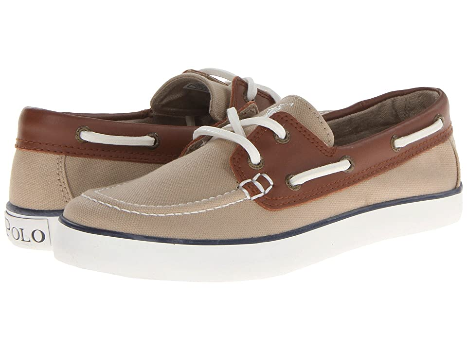 Polo Ralph Lauren Kids Sander (Big Kid) (Khaki Canvas/Tan Leather) Boys Shoes
