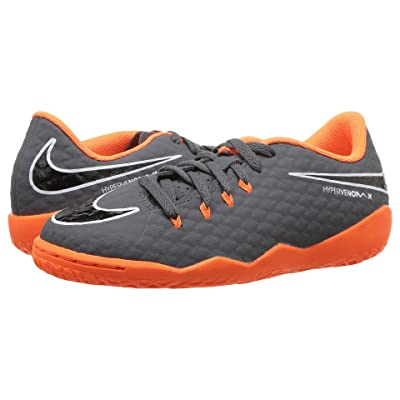 Nike Kids Jr. Hypervenom PhantomX 3 Academy Dynamic Fit IC Soccer (Toddler/Little Kid/Big Kid) (Dark Grey/Total Orange/White) Kids Shoes