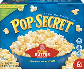 Pop Secret Popcorn, Extra Butter, 3.2 Ounce Microwave Bags, 6 Count Boxes (Pack of 6)