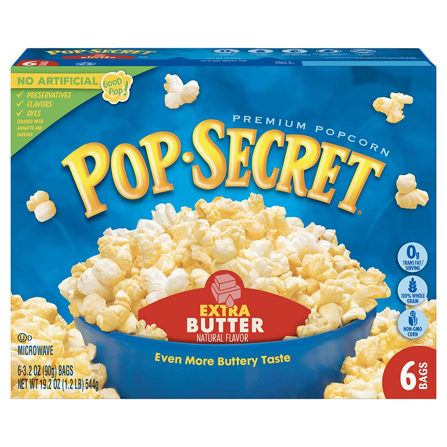 Pop Secret Popcorn National products Extra Butter 3.2 Low price Co Microwave 6 Bags Ounce