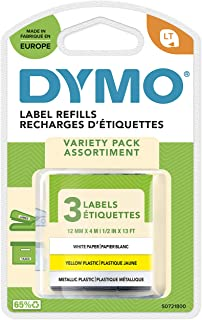DYMO LT Labels Starter Pack with Paper, Plastic and Metallic Labels for LetraTag Label Makers, 12 mm x 4 m Rolls, Self Adh...