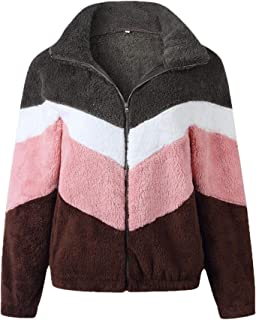 YIhujiuben Women's Sweatshirt Zip-Up Coats Fuzzy Fleece Outwear Long-Sleeve Coats