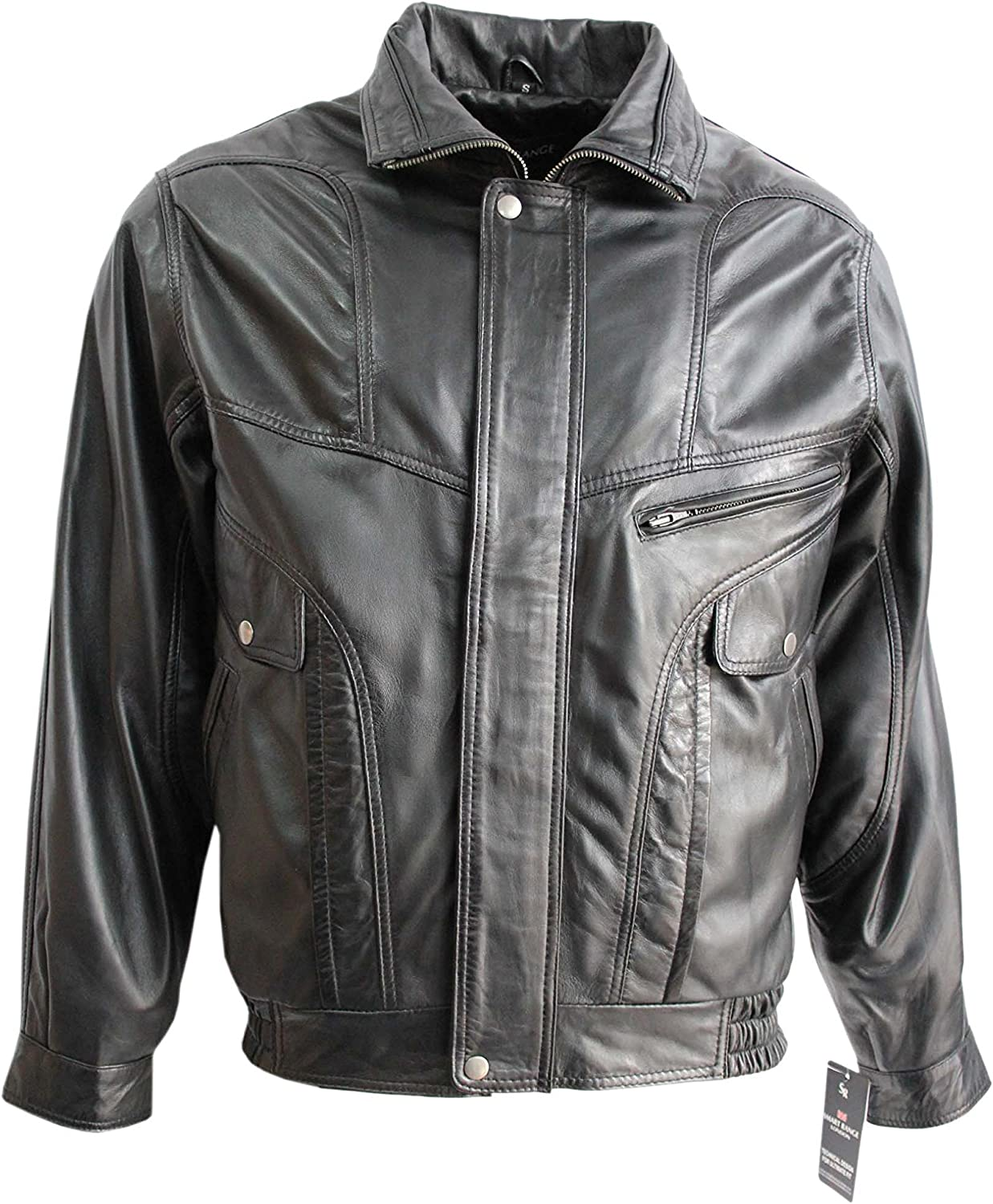 9e277963213 New 8553 Washed Biker Style Vintage Soft Nappa Real Leather Jacket Black  Men's nrkbbn3191-Sporting goods