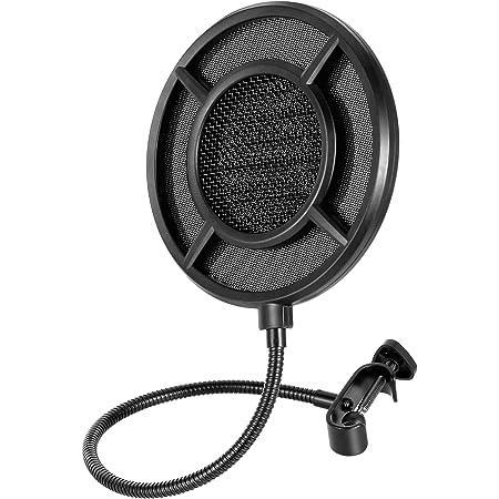 THRONMAX Máscara de micrófono profesional con filtro pop para cualquier otro micrófono, pantalla de viento de doble capa con un brazo estabilizador flexible de 360°