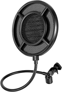 THRONMAX Professional Microphone Pop Filter Mask Shield For Any Other Microphone, Dual Layered Wind Pop Screen With A Flex...
