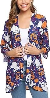 Mujer Chal Flojo Cárdigan Kimono Florales, Manga 3/4 Tops Blusa Floral Suelta Casual Boho Style Capas