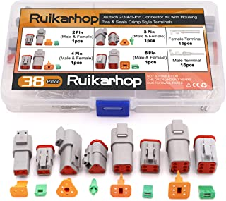 Ruikarhop 4 Sets DT Series Connector (2 Pin 3 Pin 4 Pin 6 Pin)(16 AWG-22 AWG)Sealed Male and Female Auto Waterproof Electrical Wire Connector Plug