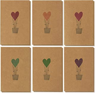 Best Paper Greetings 36-Pack Valentines Day Kraft Heart Air Balloon Design Cards & Envelopes, 4x6 Inches