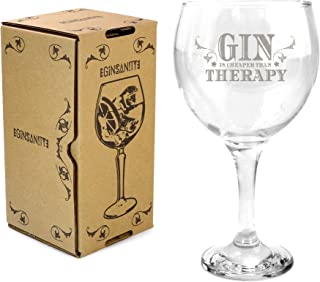 Ginsanity 22oz (645ml) Gin & Tonic Copa Balloon Cocktail Glass & Giftbox - Gin is Cheaper than Therapy