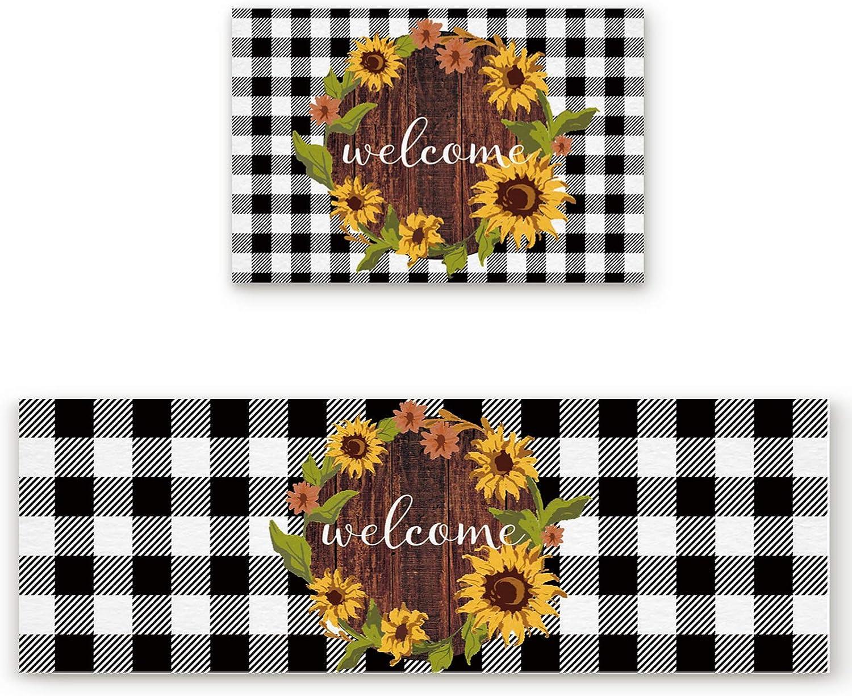 Kitchen Large special price Doormat 2 Piece Welcome Trust Sunflower G Wreath Vintage Wood