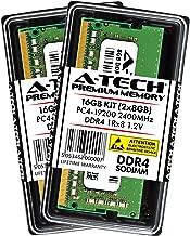 A-Tech 16GB DDR4 2400MHz Laptop Memory Kit (2 x 8GB) PC4-19200 Non-ECC Unbuffered SODIMM 260-Pin 1Rx8 1.2V Single Rank Notebook Computer RAM Upgrade Sticks (AT8G2D4S2400NS8N12V)