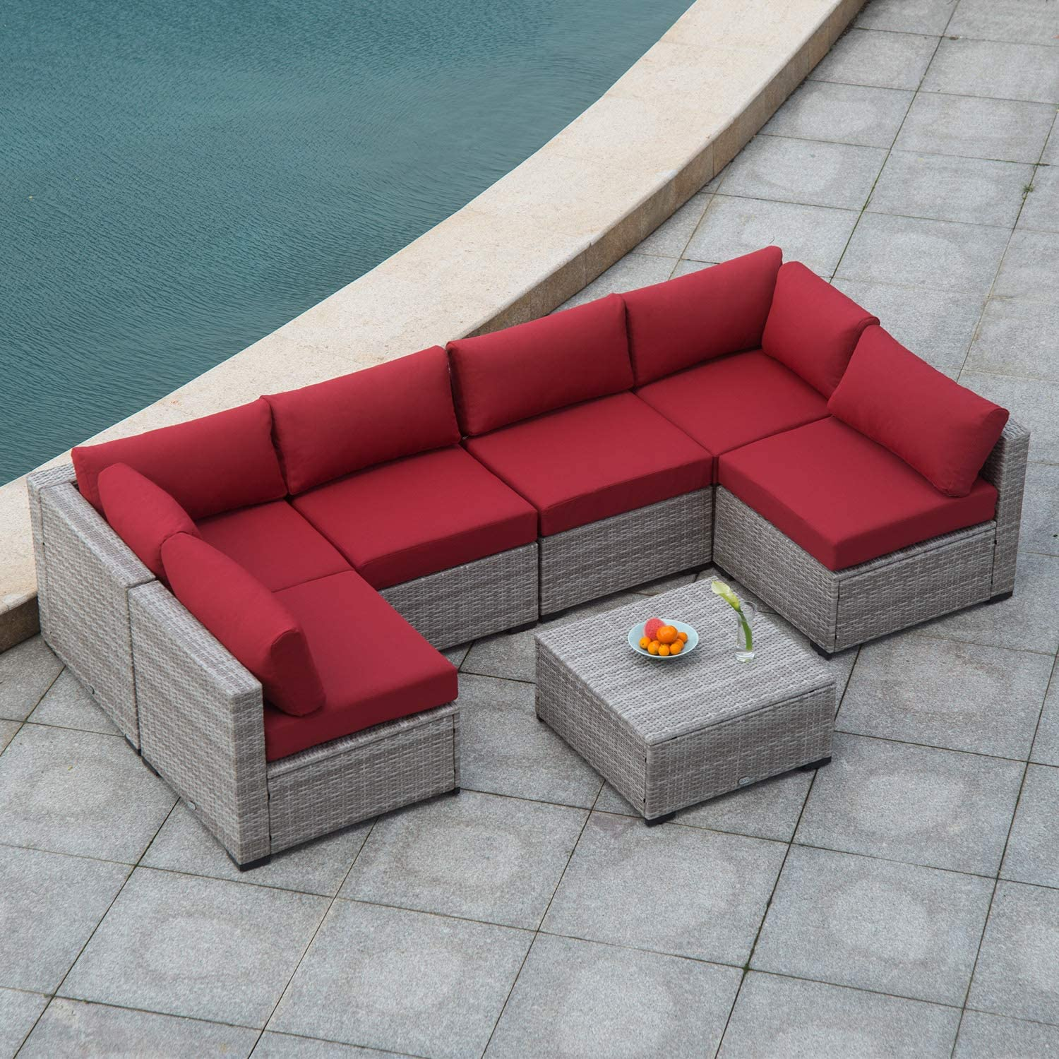 Max 50% OFF Diensday Outdoor Max 51% OFF Furniture 7-Piece Sectional Set Sofas Sofa All-