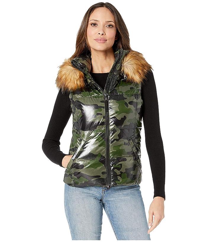 S13 Womens Snowcat Down Puffer Vest with Detachable Faux Fur Hood