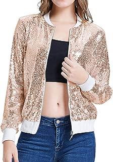 Women's Sequin Jacket Lightweight Long Sleeve Front Zip Blazer Bomber