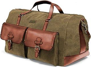 DRAKENSBERG Long Weekender - große Reisetasche im Vintage-Safari-Design, Damen und Herren, handgemacht in Premium-Qualität, 60 L, Canvas und Leder, Olivgrün, DR00124