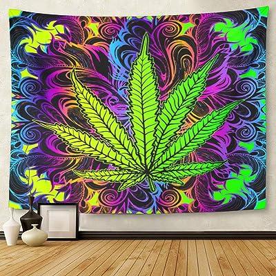 Tapiz para colgar en la pared con diseño de hojas de cannabis, marihuana, hierba, ganja, símbolo de drogas ilegales, 50 x 60 cm, tapicería, colchón, mantel, cortina de decoración del hogar