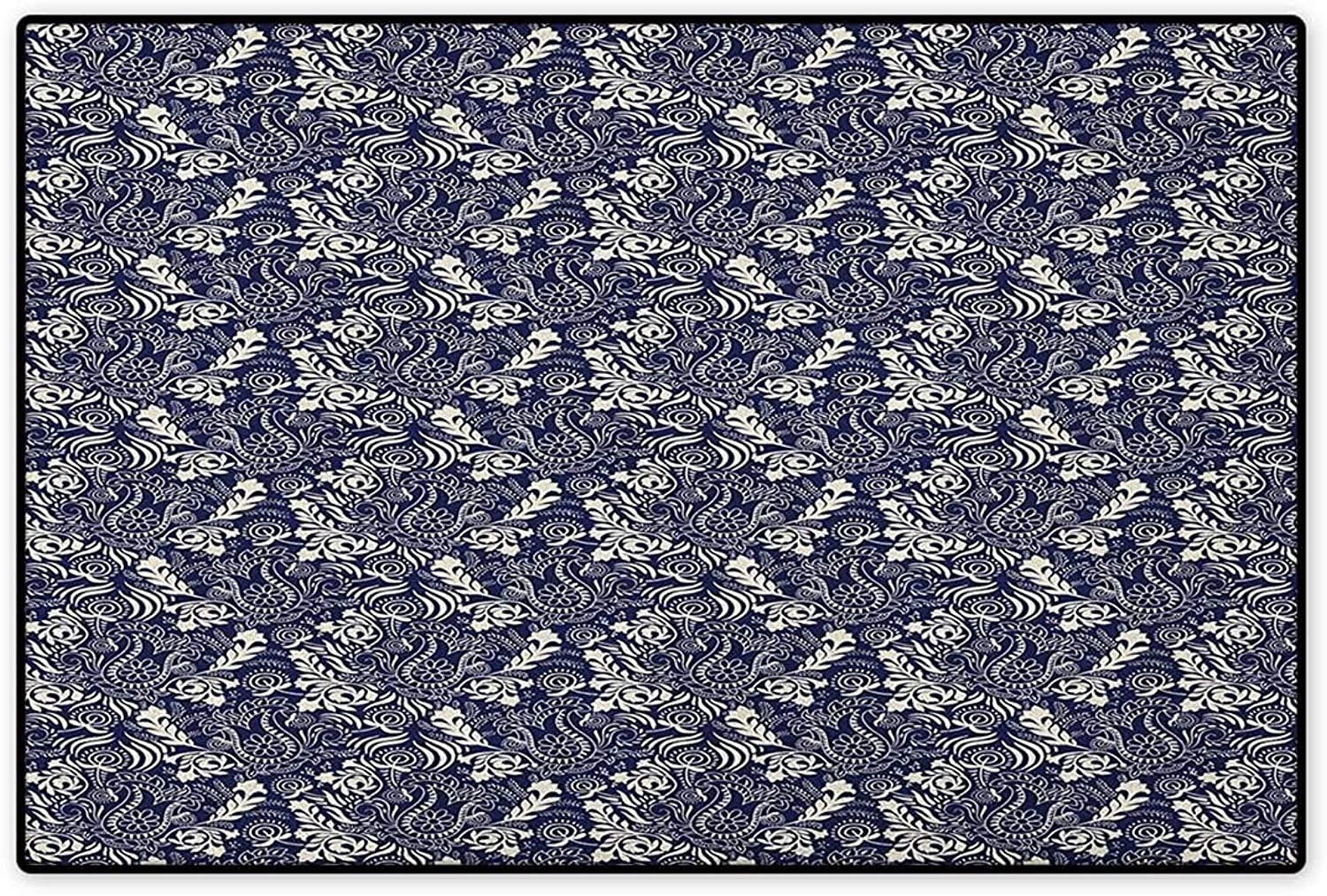 Persian,Door Mat Non Slip,Middle Eastern Inspirations with Curved Leaves and Flowers Blooming Nature,Floor Mat for Tub,Navy bluee Cream,Size,32 x48  (W80cm x L120cm)